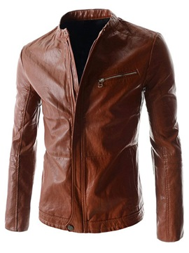 Peaked Lapel Solid Color Hidden Zipper Mens Pu Jacket