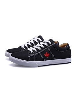 British Embroidered Lace Up Canvas Shoes