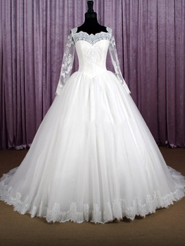 Sheer Lace Sweetheart Long Sleeve Ball Gown Wedding Dress