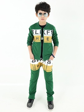 Pieced Letter Printed Boys Outfits