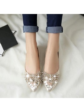 Crystal Pu Slip On Flats