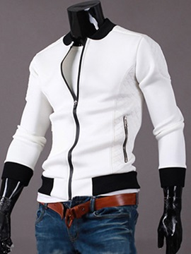 Contrast Color Peaked Lapel Full Zipper Mens Hoodie