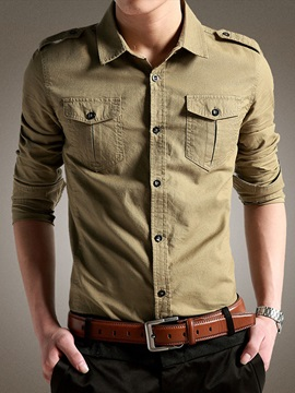 Chest Pockets Single Breasted Mens Shirt With Epaulet