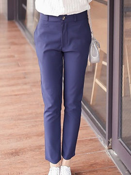 Pure Color Straight Leg Ninth Length Pant