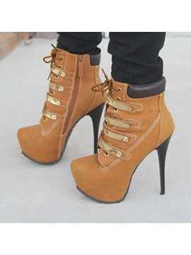 Pu Thread Stiletto Heel Lace Up Ankle Boots