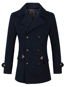 Lapel Plain Double Breasted Mens Cotton Blend Coat