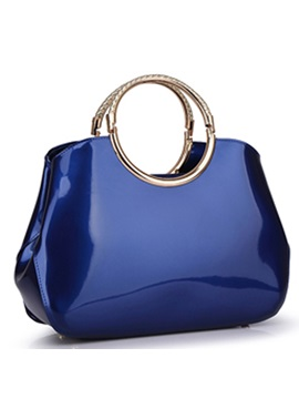 Patent Leather Zipper Women Satchel