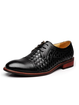 Embossed Pu Wingtip Lace Up Dress Shoes