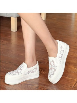 Embroidered Round Toe Slip On Sneakers