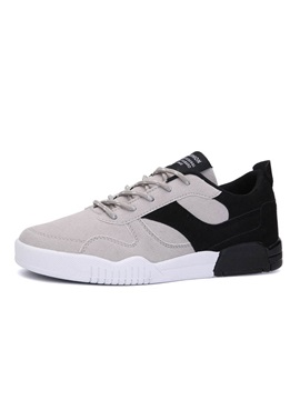 Color Block Suede Lace Up Mens Casual Shoes
