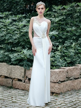 Sexy Sheer Beading Back White Garden Beach Wedding Dress