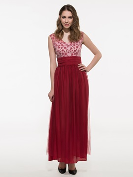Contrast Empire Waist Maxi Dress