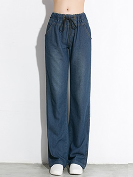 Stylish Wide Leg Waistband Jean