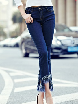 Chic Tassel Designed Ninth Length Flared Jean