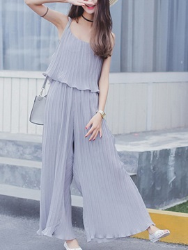 Elegant Spaghetti Strap Pleated Jumpsuit