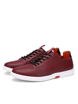 Pu Round Toe Lace Up Front Casual Shoes