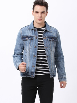 Chest Pockets Single Breasted Lapel Mens Denim Jacket