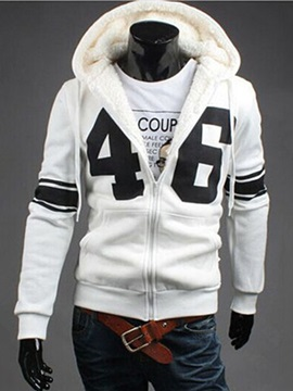 Number Printed Lace Up Mens Hoodie With Velevt