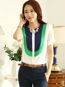 Ol Color Block Short Sleeves Blouse