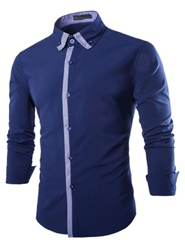 Color Block Plaid Placket Mens Lapel Shirt