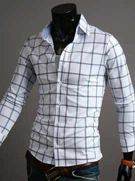 Middle Plaid Single Breasted Mens Casual Shirt