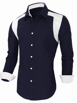 Color Block Lapel Mens Cotton Blend Shirt