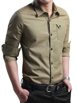Single Breasted Chest Pocket Mens Casual Shirt