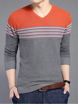 V Neck Stripe Design Color Block Mens Sweater