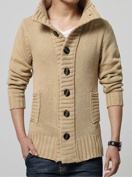 Stand Collar Single Breasted Mens Cardigan Sweater