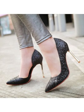 Sequins Stiletto Heel Slip On Prom Shoes