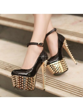 Pu Rivets Stiletto Heel Prom Shoes