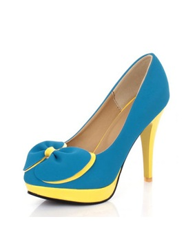 Bowknots Color Block Platform Pumps