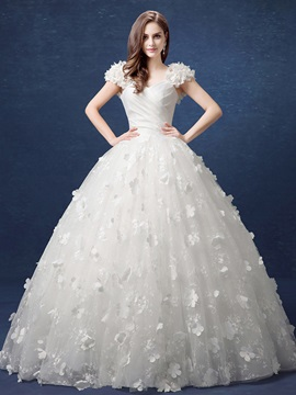 V Neck Floral Cap Sleeve Lace Ball Gown Wedding Dress