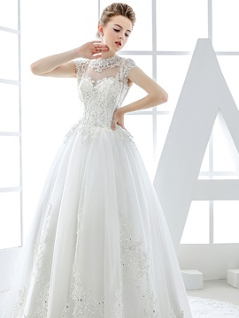 Lace High Neck Sheer Button Back Tulle Wedding Dress
