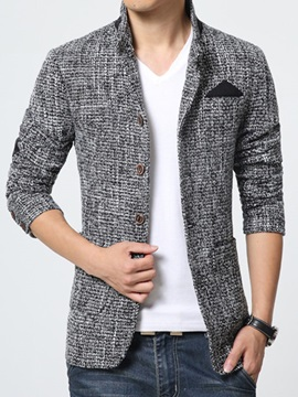Slim Fit Single Breasted Stand Collar Mens Blazer