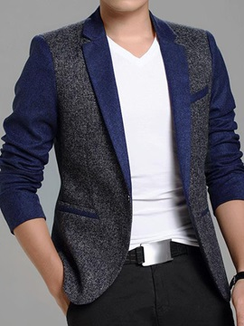 Contrast Color Notched Collar Mens Blazer