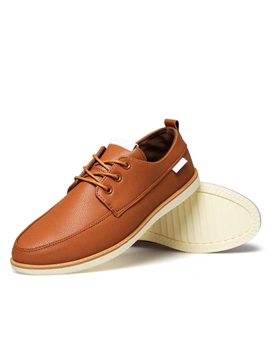 Pu Round Toe Lace Up Casual Shoes For Men