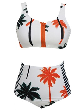 Palm Tree Print Crop Top Bikini Set Swimsuit