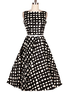 Plaid Sleeveless Round Neck Skater Dress