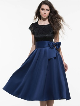 Contrast Empire Waist Belt Day Dress