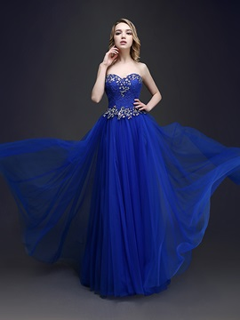 A Line Sweetheart Beading Lace Prom Dress