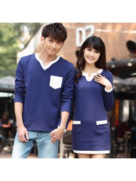 Delicate Contrast Trim Couple Tees Price For A Pair