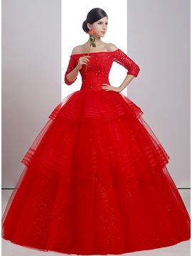 Beaded Off The Shoulder Half Sleeve Red Ball Gown Wedding Dress
