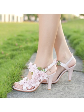 Floral Open Toe Buckles Sandals