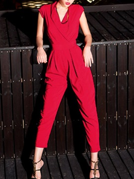 Elegant V Neck Lapel Collar Pleated Jumpsuit