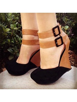 Color Block Buckles Wedges