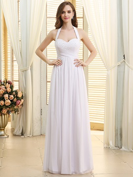 Ruched Beaded Sweetheart Halter White Chiffon Beach Wedding Dress