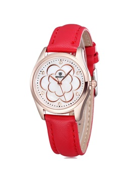 Round Pin Buckle Pu Band Women Watch