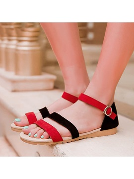 Color Block Suede Covering Heel Flat Sandals