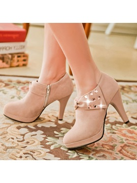 Rhinestone Bowknots Zippered Ankle Boots
